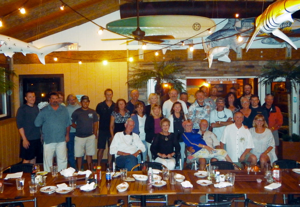 Race teams, officials and friends after dinner at Pangea Restaurant - Hatteras Island